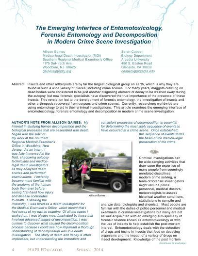LifeSciTRC org - The Emerging Interface of Entomotoxicology