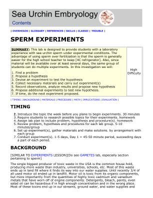 lifescitrc org search results sea urchin embryology sperm experiments david epel stanford u assessment other assignment activity non laboratory non hands on activity