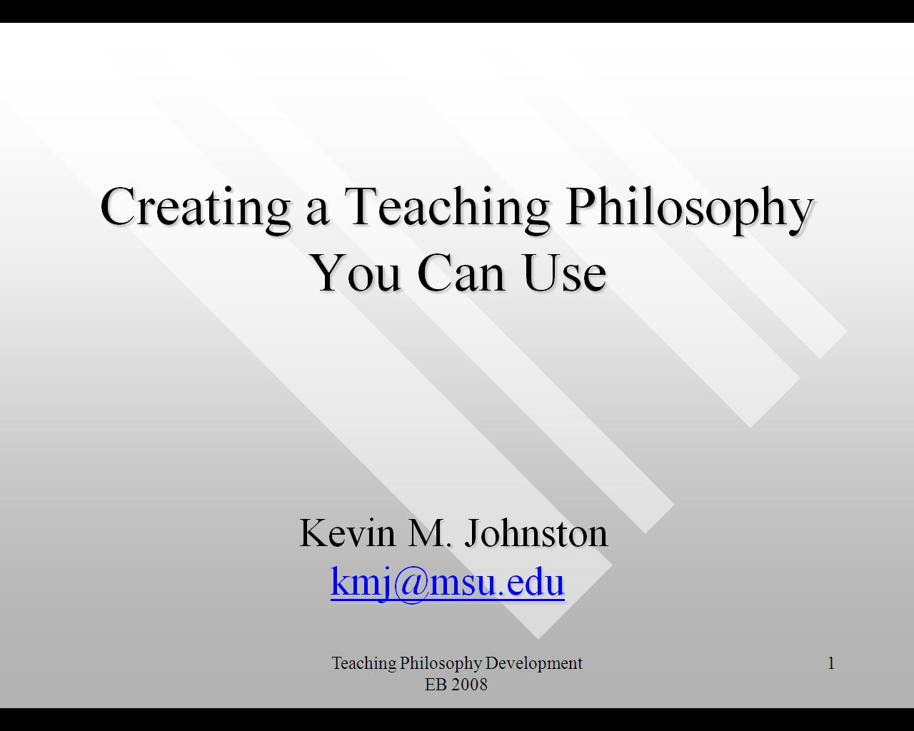 Guidelines for Teaching Philosophy Assignment
