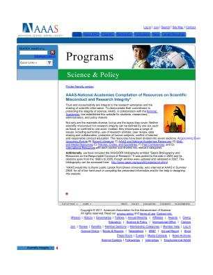 lifescitrc org search results aaas national academies compilation of resources on scientific misconduct and research integrity aaas american association for the advancement of science